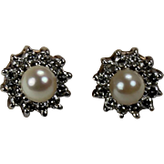 Vintage Diamond and Cultured Pearl Earrings, 14 Kt YG