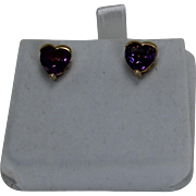 Heart Amethyst Earrings, 14kt YG
