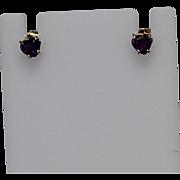 Small Heart Shaped Amethyst Earrings, 14K YG