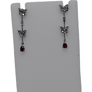 Stunning Butterfly Diamond and Red Spinel Dangle Earrings, 14K WG