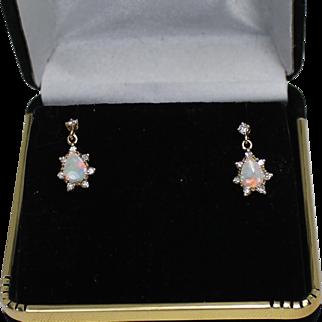 Gorgeous Diamond and Opal Drop Earrings, 14K YG