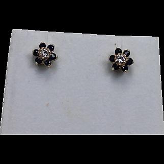 Sapphire and Diamond Daisy Earrings. 14K YG