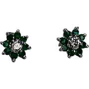 Emerald and Diamond Daisy Earrings, 14Kt WG