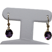 Gorgeous Drop Amethyst Leverback Earrings, 14K YG