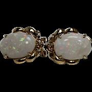 Large Omega Back Opal Earrings, 14kt YG