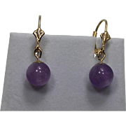 Amethyst Drop Earrings, 14Kt YG