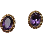 Oval Amethyst Earrings, 14Kt YG