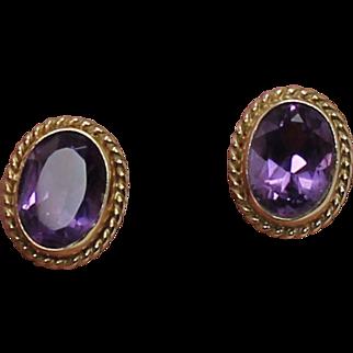 Oval Amethyst Earrings, 14Kt YG