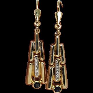 Art Deco Diamond and Blue Spinel Drop Earrings, 14K Yg