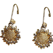 Lever Back Sun Flower Earrings, 14Kt YG