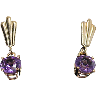 Drop Amethyst Earrings, 14Kt YG
