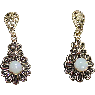 Drop Opal Earrings, 14Kt YG