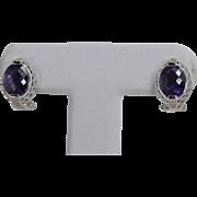 High End Amethyst and Diamond Omega Back Earrings, 14Kt WG