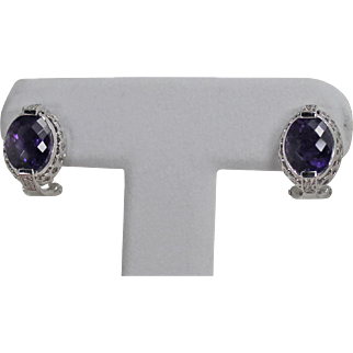 High End Amethyst and Diamond Omega Back Earrings, 14Kt WG