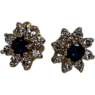 High End Sapphire and Diamond Earrings, 14Kt YG