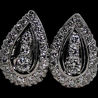 Stunning Large Diamond Omega Earrings, 1ctw 14 Kt WG