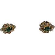 Diamond and Emerald Earrings, 14Kt YG