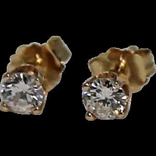 Diamond Earrings Studs, 1/3 ctw, 14 K YG
