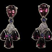 Fabulous Pink Tourmaline, Tanzanite and Diamond Chandolier Earrings, 14K WG