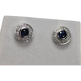 Gorgeous Sapphire and Diamond Halo Earrings, 14Kt WG