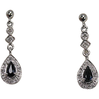 Diamond and Saphire Drop Earrings, 14Kt WG