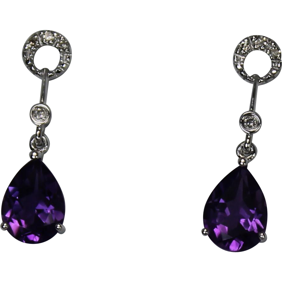 Amethyst and Diamond Drop Earrings 1kt WG from diamond dis on Ruby Lane