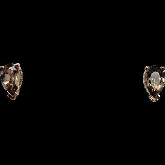 Pear Shaped Green Amethyst Earring, 14 Kt YG
