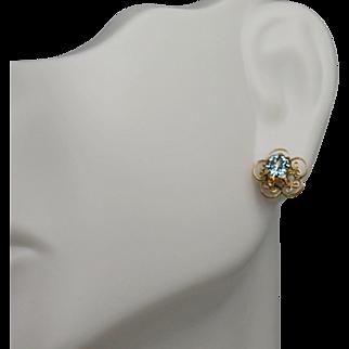 Delicate Blue Stone Filigree Earrings, 14Kt YG