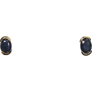 Semi Bezel set Blue Sapphire Earrings, 14Kt YG