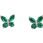 Emerald and Diamond Butterfly Earrings, 14Kt WG