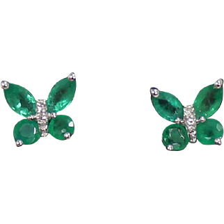 Emerald and Diamond Butterfly Earrings, 14Kt WG