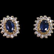 Diamond and Sapphire Earrings, 14Kt YG