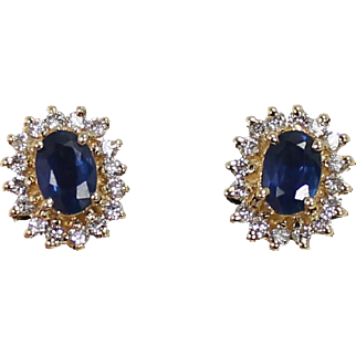 Diamond and Sapphire Earrings, 14Kt YG
