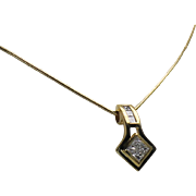 Princess Cut Diamond Pendent and Chain, 18Kt YG