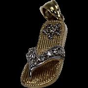 Diamond Sandal Pendent, 14Kt YG