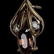 Peach Tourmaline and Diamond Pendent, 14kt YG