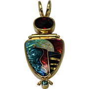 Ricky Frank Cloisonne Enamel Pendent, 22K and 18K Yellow Gold