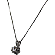 Buttecup 1/4 ct Diamond Pendent with Chain, 14K,WG