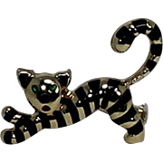 Uno Aerre Vintage Cat Pin/Brooch, Enamel and 14Kt, YG