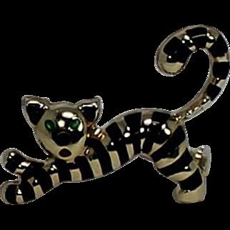 Uno Aerre Vintage Cat Pin/Brooch, Enamel and 14Kt, YG