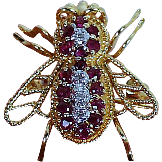 Vintage Ruby and Diamond Bee Pendent or Brooch, 14 kt YG