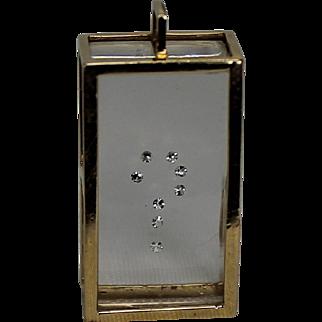 Acrylic and Diamond Question Mark Pendent, 14Kt YG