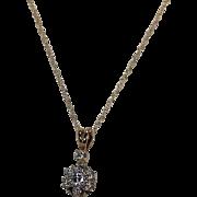 Vntage Halo Style Diamond Pendent, 14 Kt YG