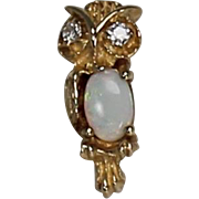 Opal and Diamond Owl Pendent, 14Kt YG