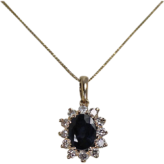 sapphire and Diamond Pendent, With Chain,14Kt YG