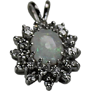 Opal and Diamond Pendent, 10 KT WG