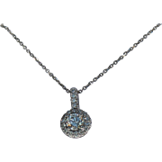 Halo Diamond Pendent and Chain, 14Kt WG