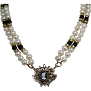 Victorian Cameo and Pearl Necklace and Pendent. 14Kt YG