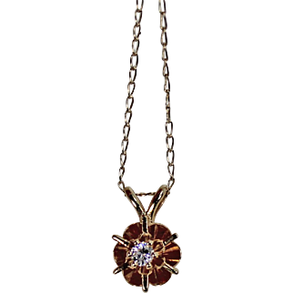 Buttercup Diamond Pendant and Chain, 14Kt YG