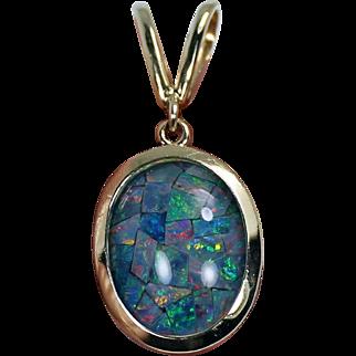 Mozaic Opal Pendant, 14 Kt YG